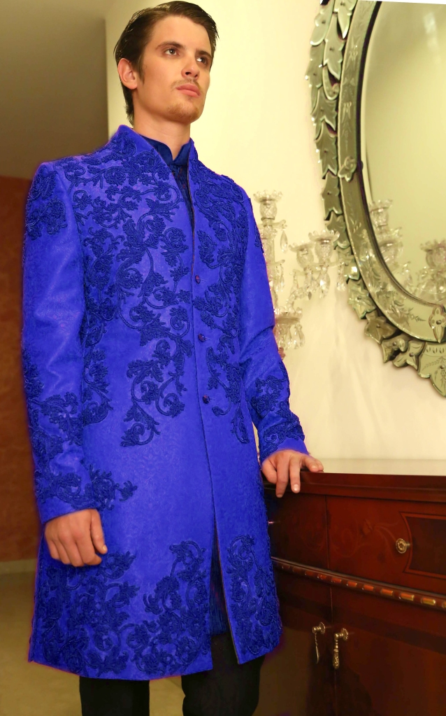 COBALT BLUE SILK ACHKAN WITH TONE ON TONE FLORAL EMBELLISHMENT