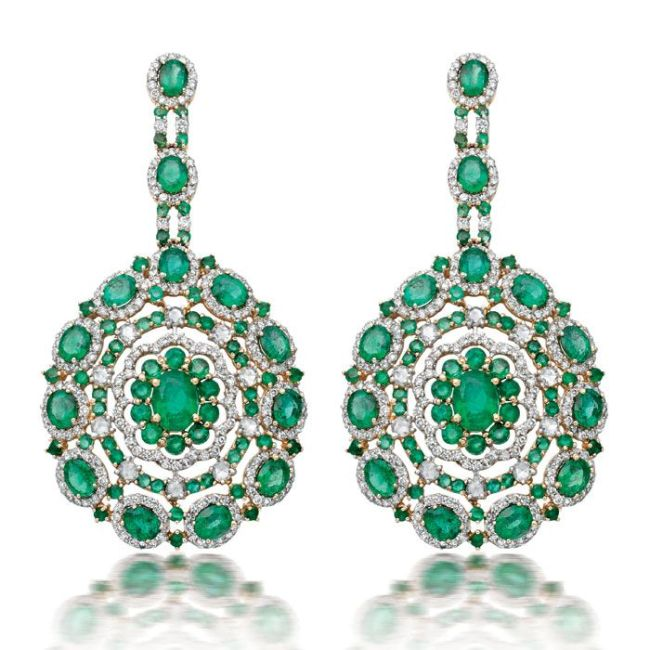 Amrapali's Fine Zambian Emerald Floral Earrings