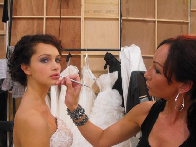 Sarah working backstage at a shoot