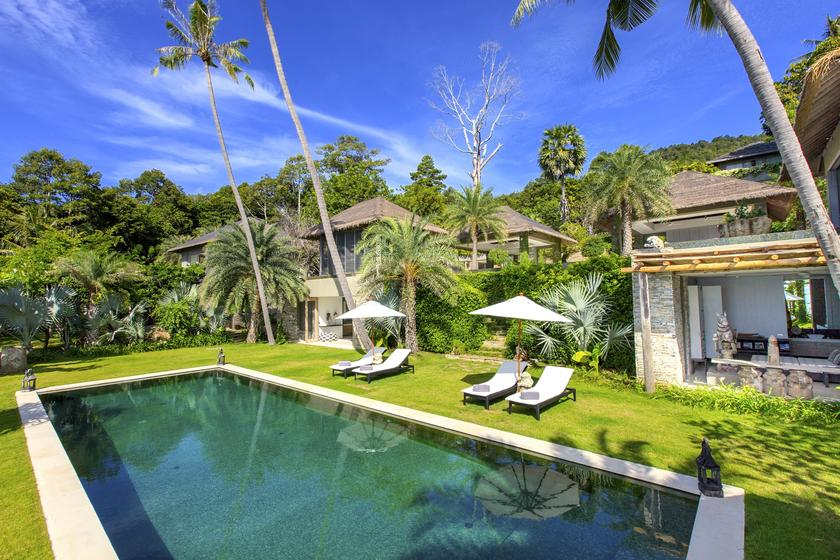 Lower swimming pool at Villa 2 of Sangsuri private resort, North Chaweng, Koh Samui, Thailand