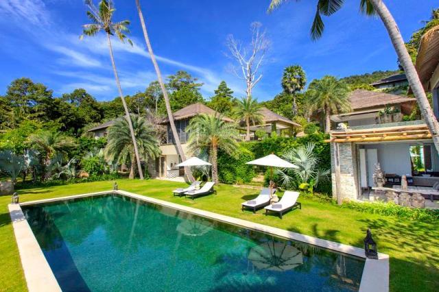 Lower swimming pool at Villa 2 of Sangsuri private resort, North Chaweng, Koh Samui, Thailand